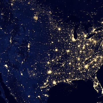 AMERICAN CITY LIGHTS FROM SPACE by TOMSREDBUBBLE