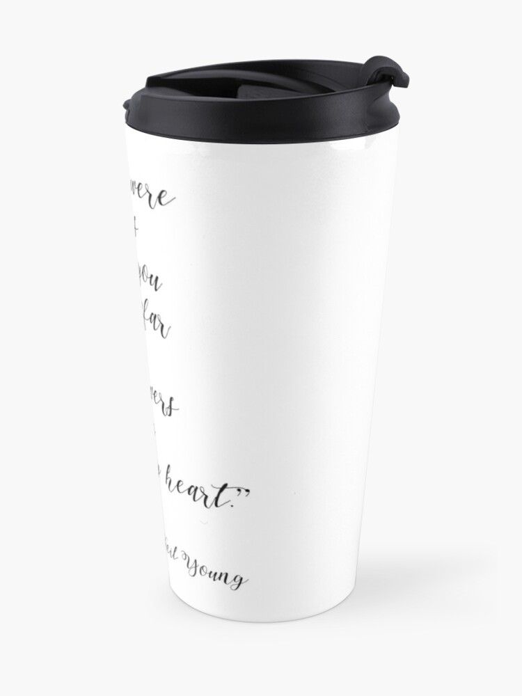 Alternate view of Neil Young Harvest Moon Lyric Print Travel Mug