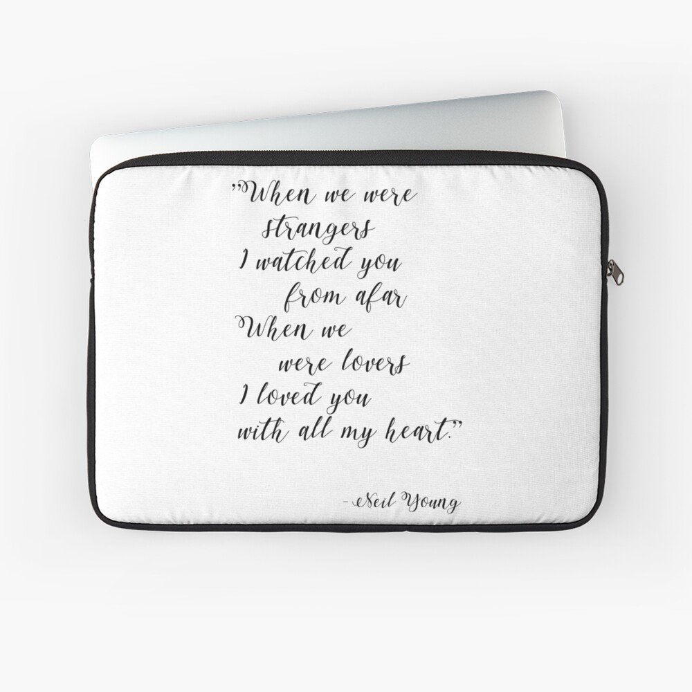 Neil Young Harvest Moon Lyric Print Laptop Sleeve
