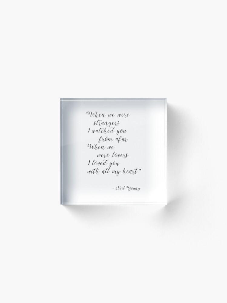 Alternate view of Neil Young Harvest Moon Lyric Print Acrylic Block