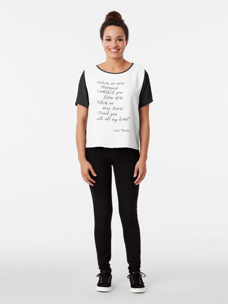 Alternate view of Neil Young Harvest Moon Lyric Print Chiffon Top