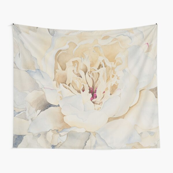 Peony in Cream Watercolor Tapestry
