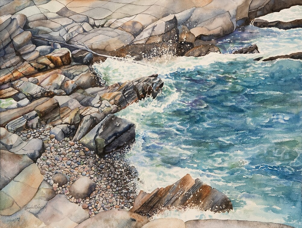 Maine Cove Seascape Watercolor by Gayle Mahoney