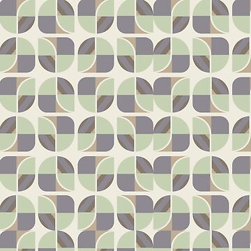 Vintage-Retro Pattern-Pastel Green-Grey-Cream by broadmeadow