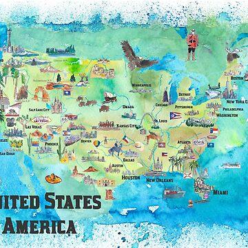 United States of America United States Art Travel Map by artshop77