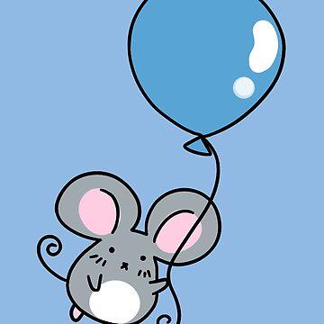 Blue Balloon Gray Mouse by SaradaBoru