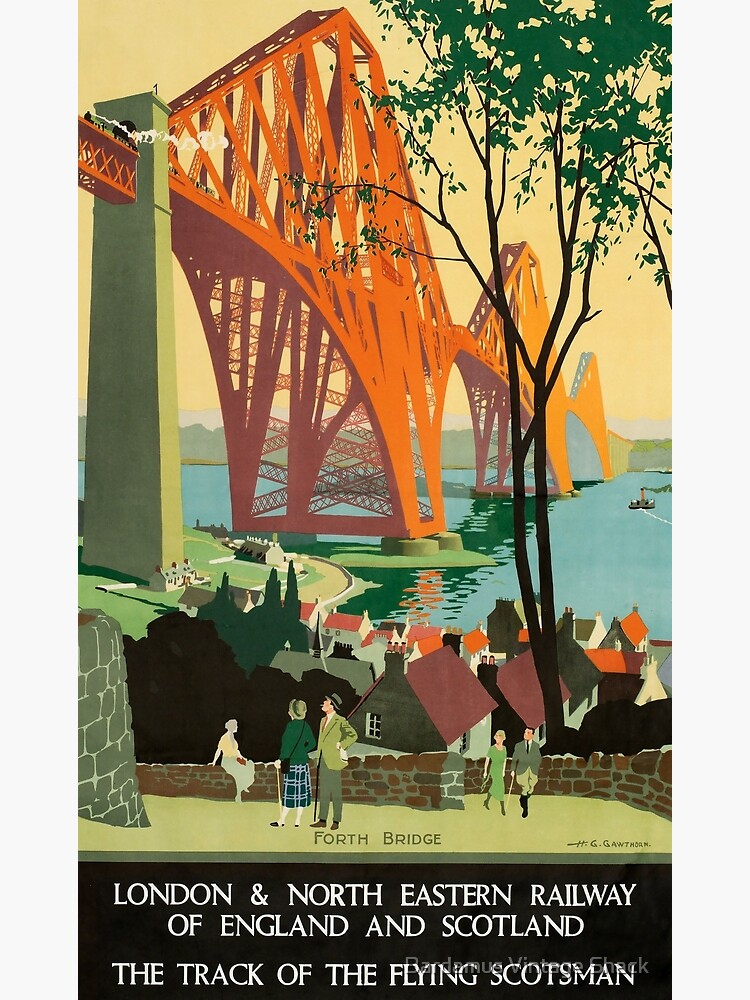 Scottish Railway Travel Poster, The Forth Bridge, East Coast Route by SamKovac