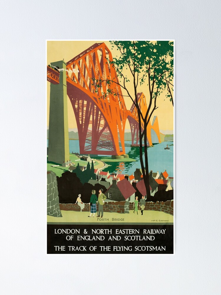 Alternate view of Scottish Railway Travel Poster, The Forth Bridge, East Coast Route Poster
