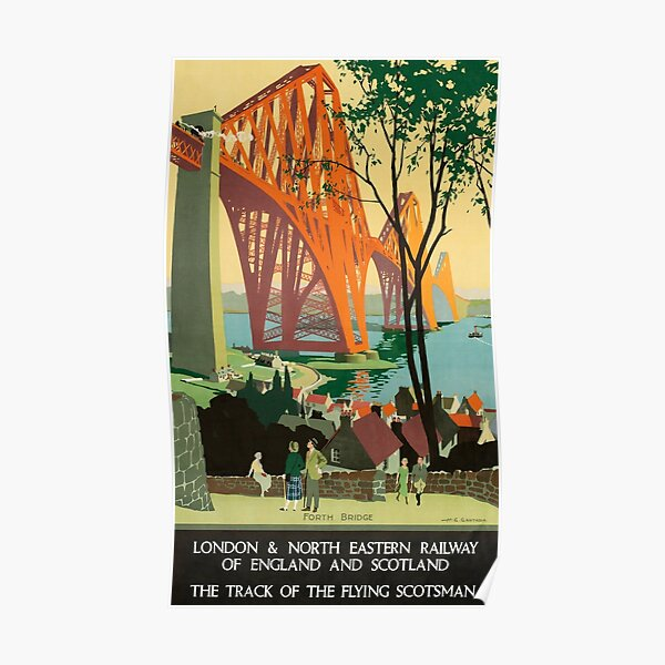 Scottish Railway Travel Poster, The Forth Bridge, East Coast Route Poster