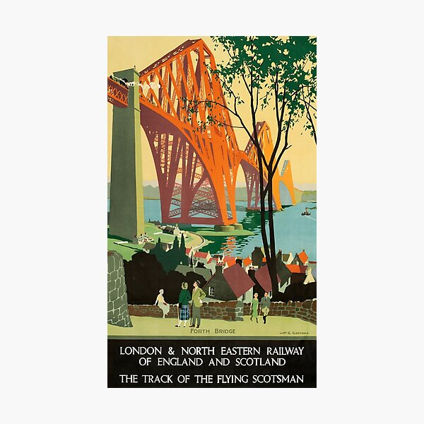Scottish Railway Travel Poster, The Forth Bridge, East Coast Route Photographic Print