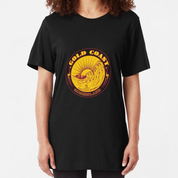 GOLDCOAST, QUEENSLAND, SURFING Slim Fit T-Shirt