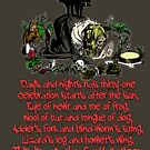 Shakespeare Inspired Poem With Witch Casting Spell with Black Cat for Halloween Wiccan Pagan, Witch by gallerytees
