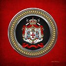 Knights Templar - Coat of Arms Special Edition over Red Leather by Serge Averbukh