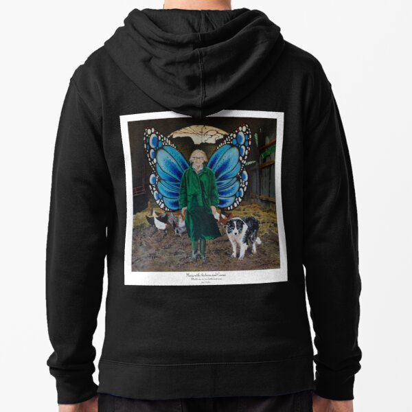 Mary with chickens and Caesar Zipped Hoodie