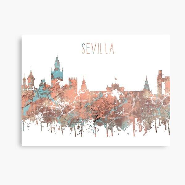 Sevilla, Sevilla skyline, Sevilla art Lámina metálica
