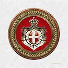 Order of Malta - SMOM Coat of Arms Special Edition over White Leather by Serge Averbukh