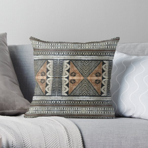 Fijian Tapa Cloth 2 by Hypersphere Throw Pillow
