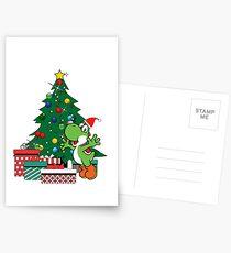 Yoshi Around The Christmas Tree Mario Postcards