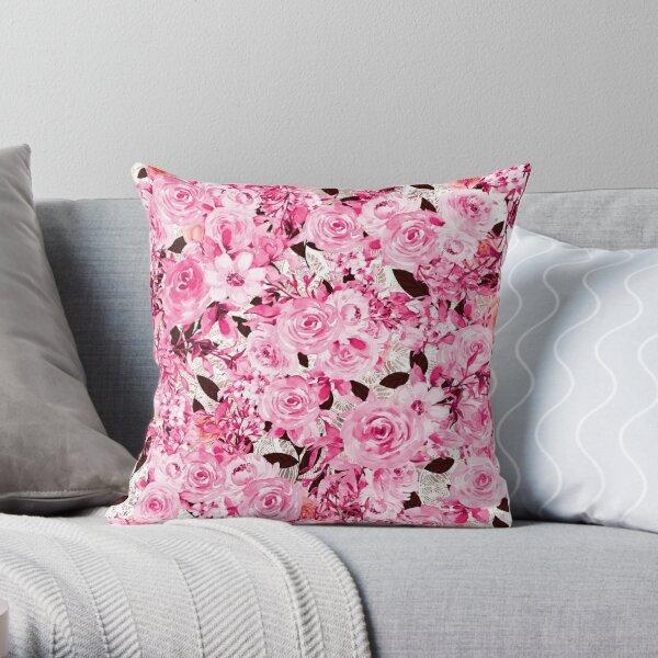Féminine et malpropre - motif de fleurs roses Coussin