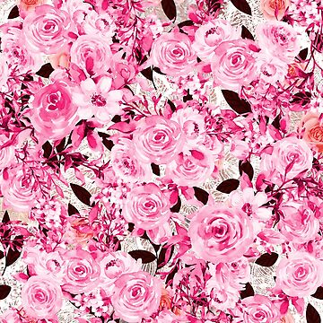 Feminine and Messy - pink flowers pattern by cadinera