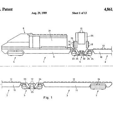 Lego Train Patent (Black Vs) by mecanolego