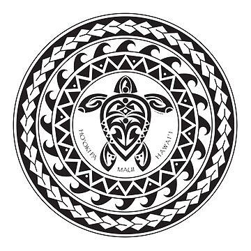 Tribal Turtle Tattoo Mandala Ho'okipa, Maui / B&W  by srwdesign