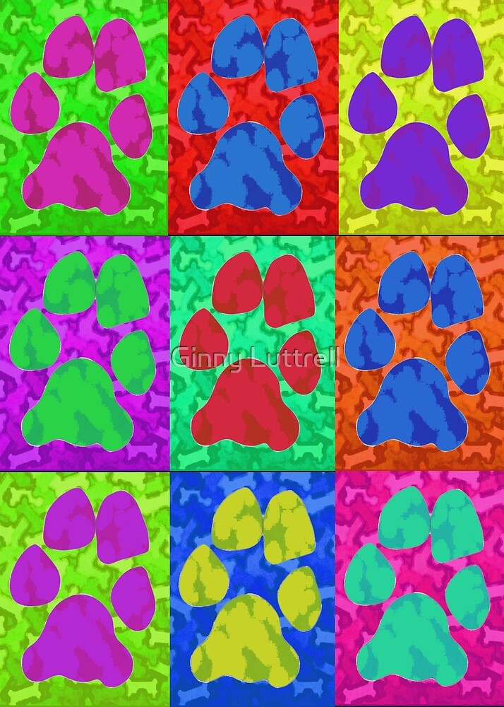 Dog Paws Pop Art by Ginny Luttrell