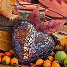 Autumn Still Life With Glass Heart by artsandsoul