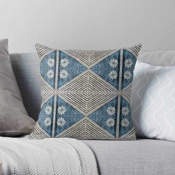 Fijian Tapa Cloth 68 by Hypersphere Throw Pillow