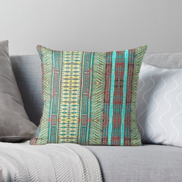 Fijian Tapa Cloth 82 by Hypersphere Throw Pillow