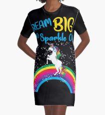 Dream Big and Sparkle On Unicorn Rainbow Graphic T-Shirt Dress