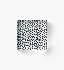 Hand Painted Inky Black and White Spots Acrylic Block