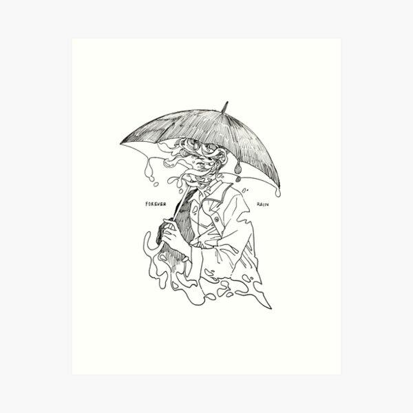 forever rain - mono  Art Print