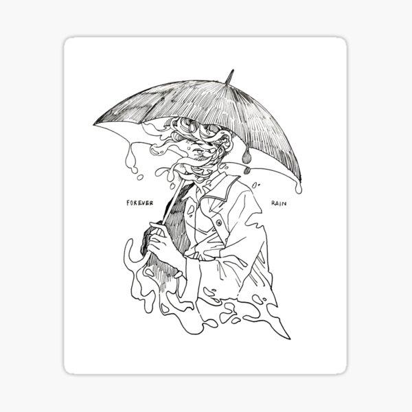 siempre lluvia - mono Pegatina