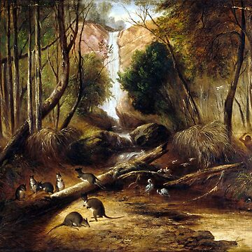 John Skinner Prout Bush landscape with waterfall and an Aborigine stalking native animals, New South Wales by pdgraphics
