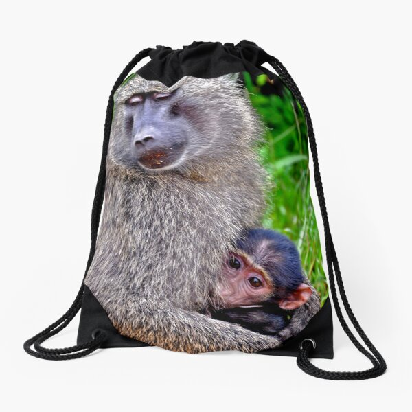 Mother and Baby Baboon from Uganda, Africa  Drawstring Bag