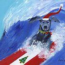 Christmas Surfing Weimaraner by jfrier