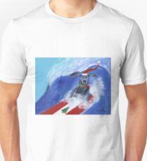 Christmas Surfing Weimaraner Unisex T-Shirt
