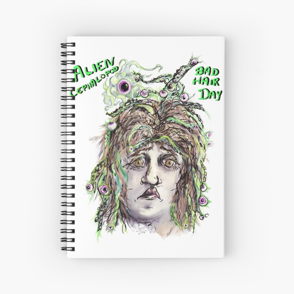 Alien Cephalopod Bad Hair Day with text Spiral Notebook