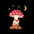Cute Fox Animals Sleeping Under Mushroom Dark Color by TinyStarAmerica