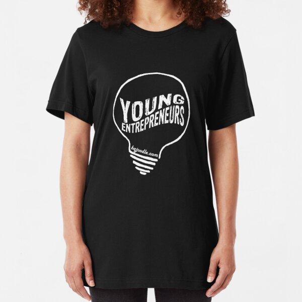 Young Entrepreneur Light Bulb Logo White Slim Fit T-Shirt
