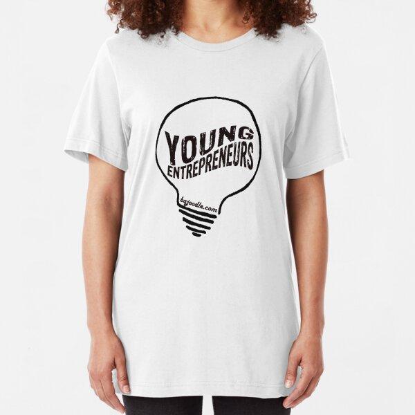 Young Entrepreneurs Light Bulb Logo black  Slim Fit T-Shirt