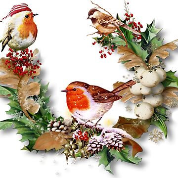 Chickadee Christmas Gathering in the Holly by JMarielle