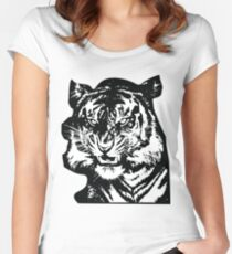 Tiger_BW Women's Fitted Scoop T-Shirt
