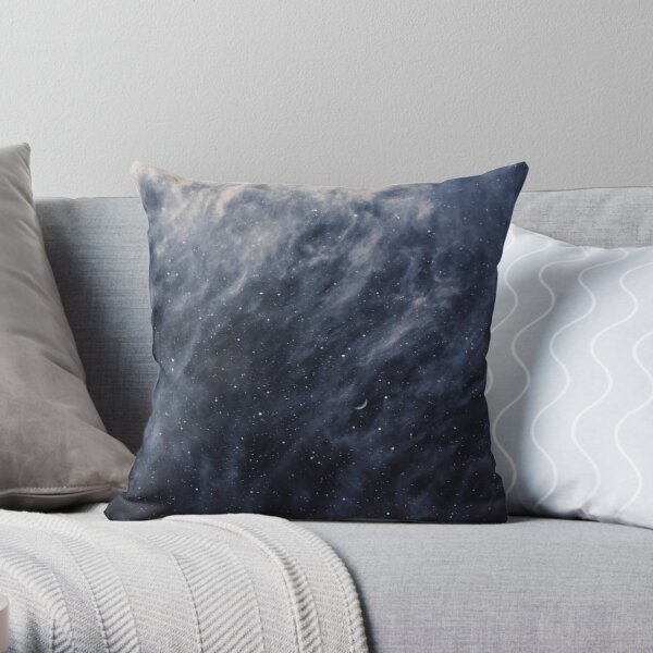 Blue Clouds, Blue Moon Throw Pillow