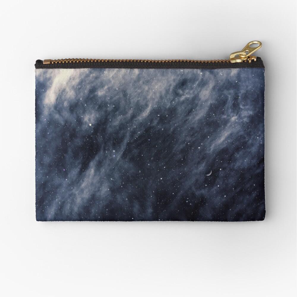 Blue Clouds, Blue Moon Zipper Pouch
