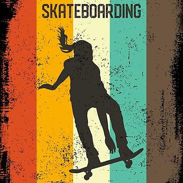 Skateboarding Girl Retro 70s Vintage Skater Girl Gift by cgocgy