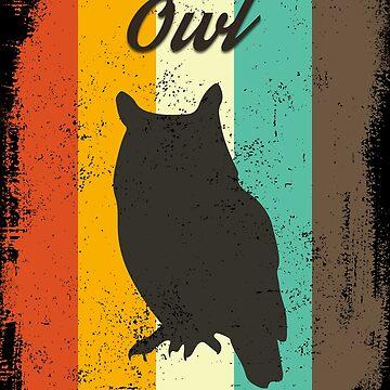 Owl Retro 70s Vintage Bird Lover Gift by cgocgy