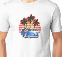 VW Split Window Bus w Girl & Palmes Unisex T-Shirt