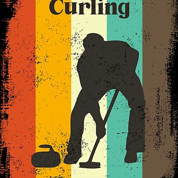 Curling Retro 70s Vintage Curler Sweeping Men Gift by cgocgy